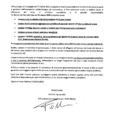 RIPRESA DELL'ATTIVITA' – PROTOCOLLO F.I.T.